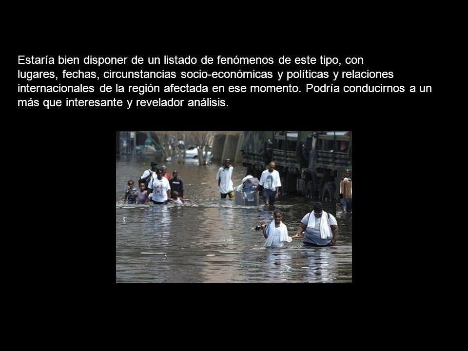 ¿Tienen algo que ver con este oscuro programa el Mitch, el Katrina, los últimos terremotos en China y Japón, o el de Perú (de niveles asombrosos en la escala de Richter, hasta 7,9 en Perú), las sequías que caracterizan el patrón climático de Corea del Norte desde mediados de los 90, o las de Cuba, o las devastadoras sequías de Iraq, Irán, Siria, Aganistán o Africa, el ciclón de Birmania, las inundaciones de centro Europa, fenómenos como el que en Melilla provocó que la temperatura se elevara de 24 a 41 grados en 5 minutos, el terremoto en Irán el 26 de diciembre de 2003 o el tsunami del Indico el 26 de diciembre de 2004 - a un año y 58 minutos de diferencia exactamente, en pleno periodo navideño