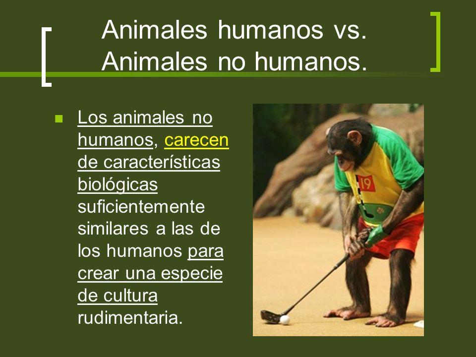 Animales humanos vs. Animales no humanos. Los animales no humanos, carecen de características biológicas suficientemente similares a las de los humano
