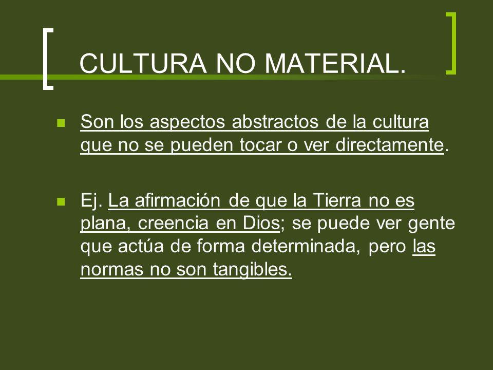 CULTURA NO MATERIAL. Son los aspectos abstractos de la cultura que no se pueden tocar o ver directamente. Ej. La afirmación de que la Tierra no es pla