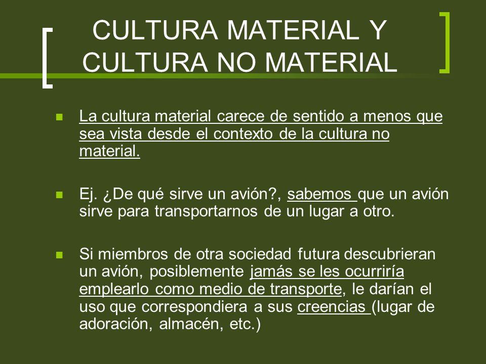 CULTURA MATERIAL Y CULTURA NO MATERIAL La cultura material carece de sentido a menos que sea vista desde el contexto de la cultura no material. Ej. ¿D