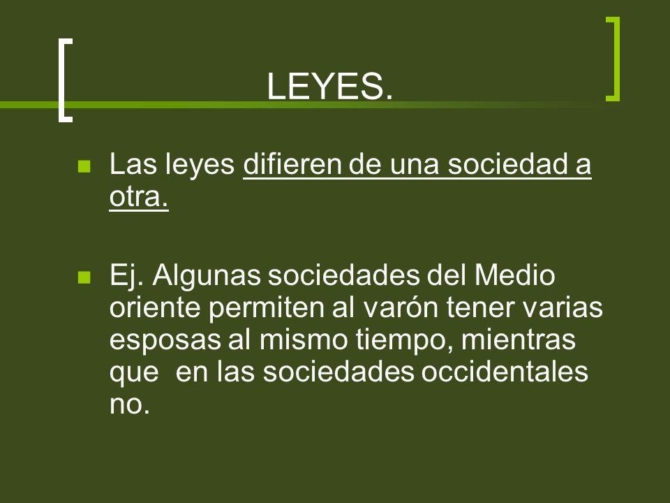LEYES. Las leyes difieren de una sociedad a otra. Ej. Algunas sociedades del Medio oriente permiten al varón tener varias esposas al mismo tiempo, mie
