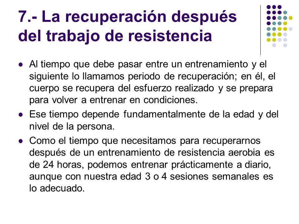 7.- La recuperación después del trabajo de resistencia Al tiempo que debe pasar entre un entrenamiento y el siguiente lo llamamos periodo de recuperac