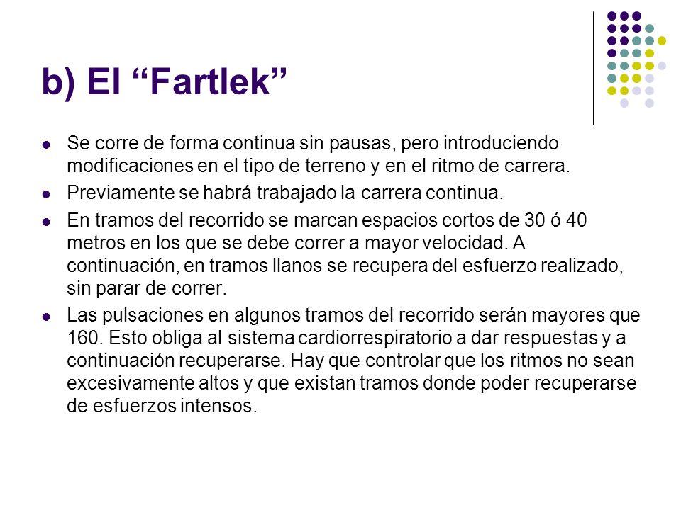 b) El Fartlek Se corre de forma continua sin pausas, pero introduciendo modificaciones en el tipo de terreno y en el ritmo de carrera. Previamente se