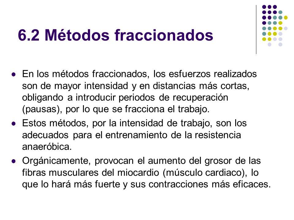6.2 Métodos fraccionados En los métodos fraccionados, los esfuerzos realizados son de mayor intensidad y en distancias más cortas, obligando a introdu