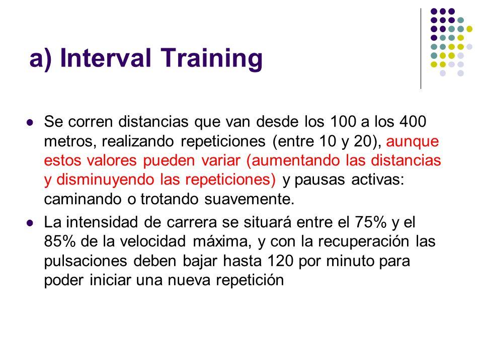 a) Interval Training Se corren distancias que van desde los 100 a los 400 metros, realizando repeticiones (entre 10 y 20), aunque estos valores pueden