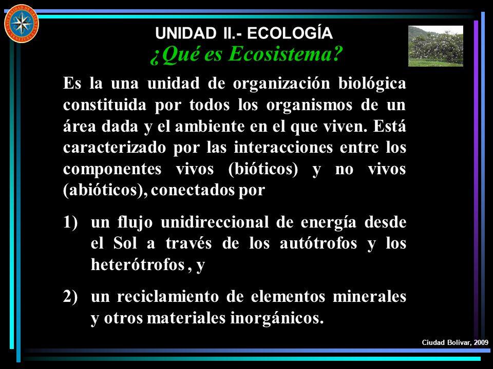 UNIDAD II.- ECOLOGÍA Ciudad Bolívar, 2009 ¿Qué es Ecosistema? Es la una unidad de organización biológica constituida por todos los organismos de un ár