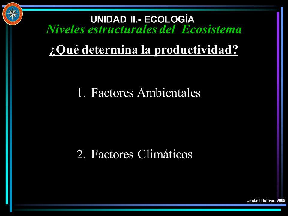 UNIDAD II.- ECOLOGÍA Ciudad Bolívar, 2009 Niveles estructurales del Ecosistema ¿Qué determina la productividad? 1.Factores Ambientales 2.Factores Clim