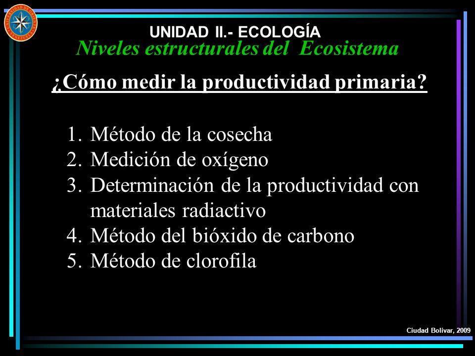 UNIDAD II.- ECOLOGÍA Ciudad Bolívar, 2009 Niveles estructurales del Ecosistema ¿Cómo medir la productividad primaria? 1.Método de la cosecha 2.Medició