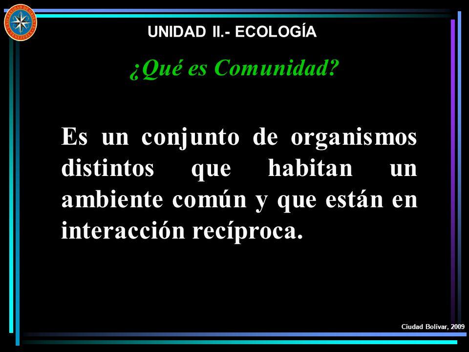 UNIDAD II.- ECOLOGÍA Ciudad Bolívar, 2009 ¿Qué es Comunidad? Es un conjunto de organismos distintos que habitan un ambiente común y que están en inter