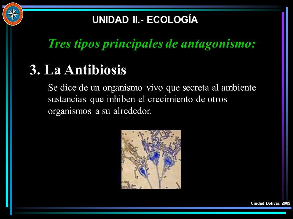 UNIDAD II.- ECOLOGÍA Ciudad Bolívar, 2009 3. La Antibiosis Se dice de un organismo vivo que secreta al ambiente sustancias que inhiben el crecimiento