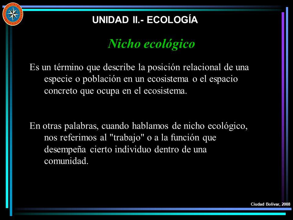 UNIDAD II.- ECOLOGÍA Ciudad Bolívar, 2008 Es un término que describe la posición relacional de una especie o población en un ecosistema o el espacio c