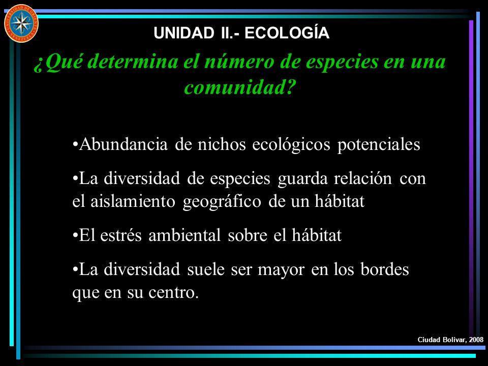UNIDAD II.- ECOLOGÍA Ciudad Bolívar, 2008 ¿Qué determina el número de especies en una comunidad? Abundancia de nichos ecológicos potenciales La divers