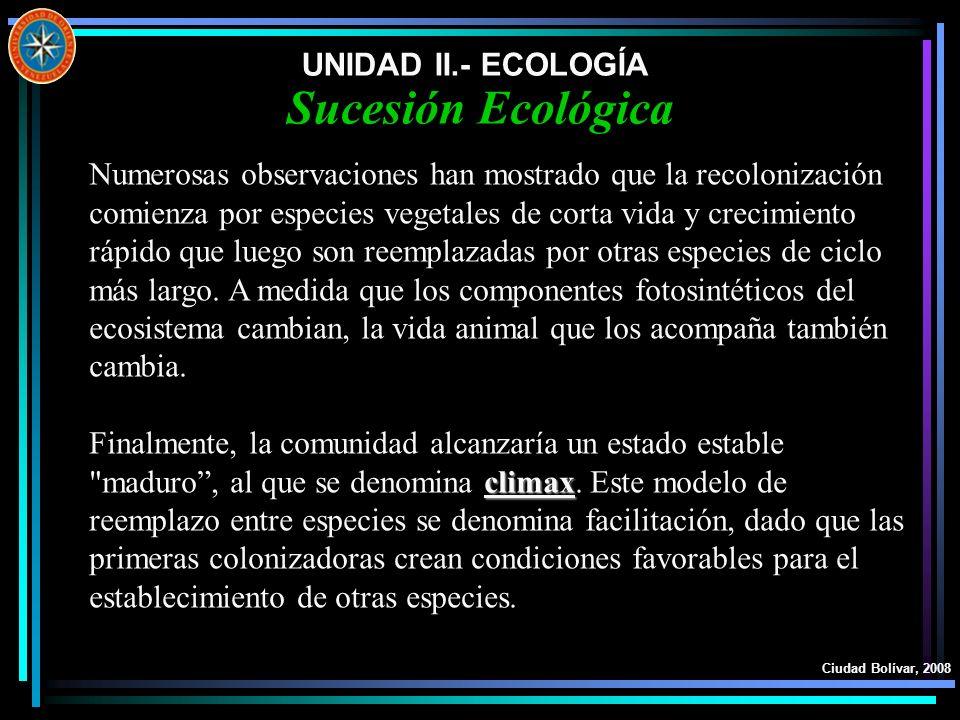 UNIDAD II.- ECOLOGÍA Ciudad Bolívar, 2008 Sucesión Ecológica Numerosas observaciones han mostrado que la recolonización comienza por especies vegetale
