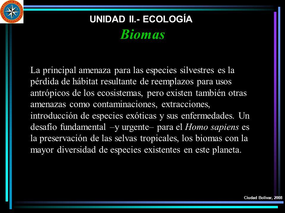 UNIDAD II.- ECOLOGÍA Ciudad Bolívar, 2008 Biomas La principal amenaza para las especies silvestres es la pérdida de hábitat resultante de reemplazos p