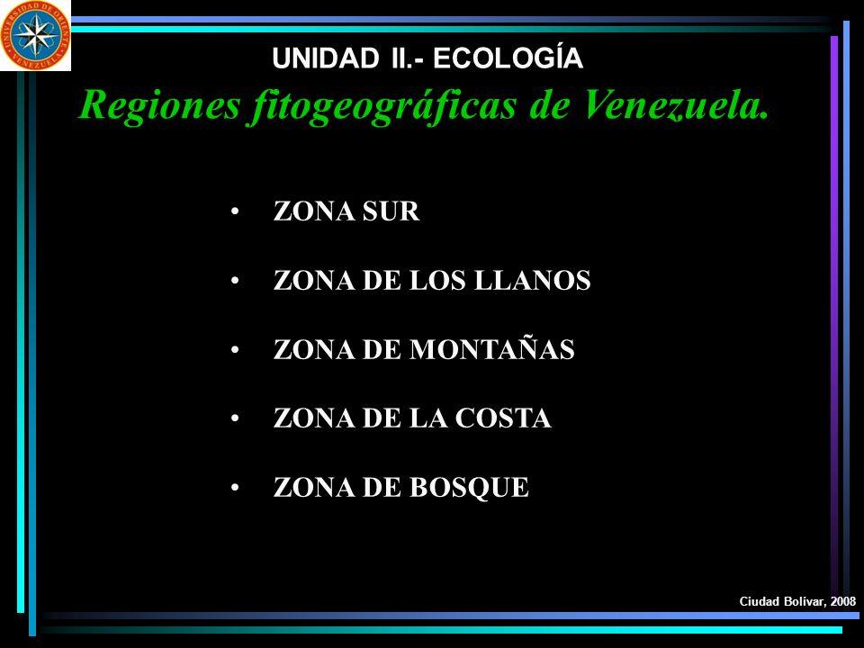 UNIDAD II.- ECOLOGÍA Ciudad Bolívar, 2008 Regiones fitogeográficas de Venezuela. ZONA SUR ZONA DE LOS LLANOS ZONA DE MONTAÑAS ZONA DE LA COSTA ZONA DE