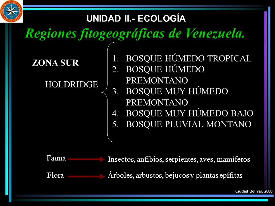 UNIDAD II.- ECOLOGÍA Ciudad Bolívar, 2008 Regiones fitogeográficas de Venezuela. HOLDRIDGE ZONA SUR 1.BOSQUE HÚMEDO TROPICAL 2.BOSQUE HÚMEDO PREMONTAN