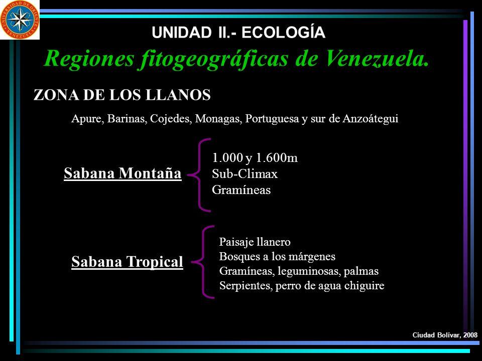 UNIDAD II.- ECOLOGÍA Ciudad Bolívar, 2008 Regiones fitogeográficas de Venezuela. ZONA DE LOS LLANOS Sabana Montaña Sabana Tropical Apure, Barinas, Coj