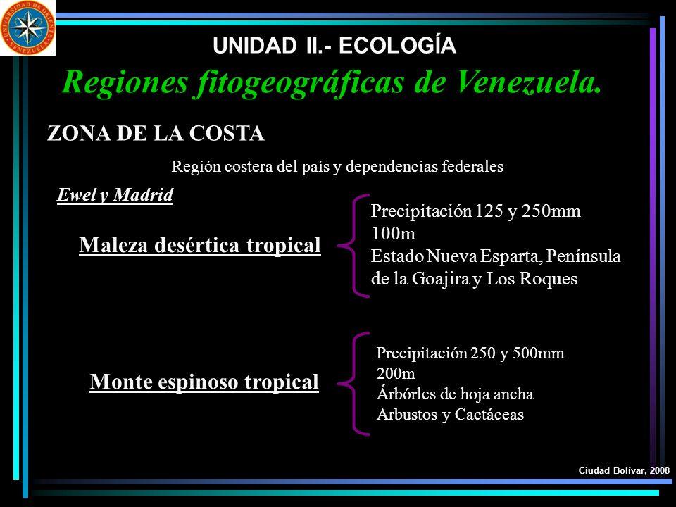 UNIDAD II.- ECOLOGÍA Ciudad Bolívar, 2008 Regiones fitogeográficas de Venezuela. ZONA DE LA COSTA Maleza desértica tropical Monte espinoso tropical Re