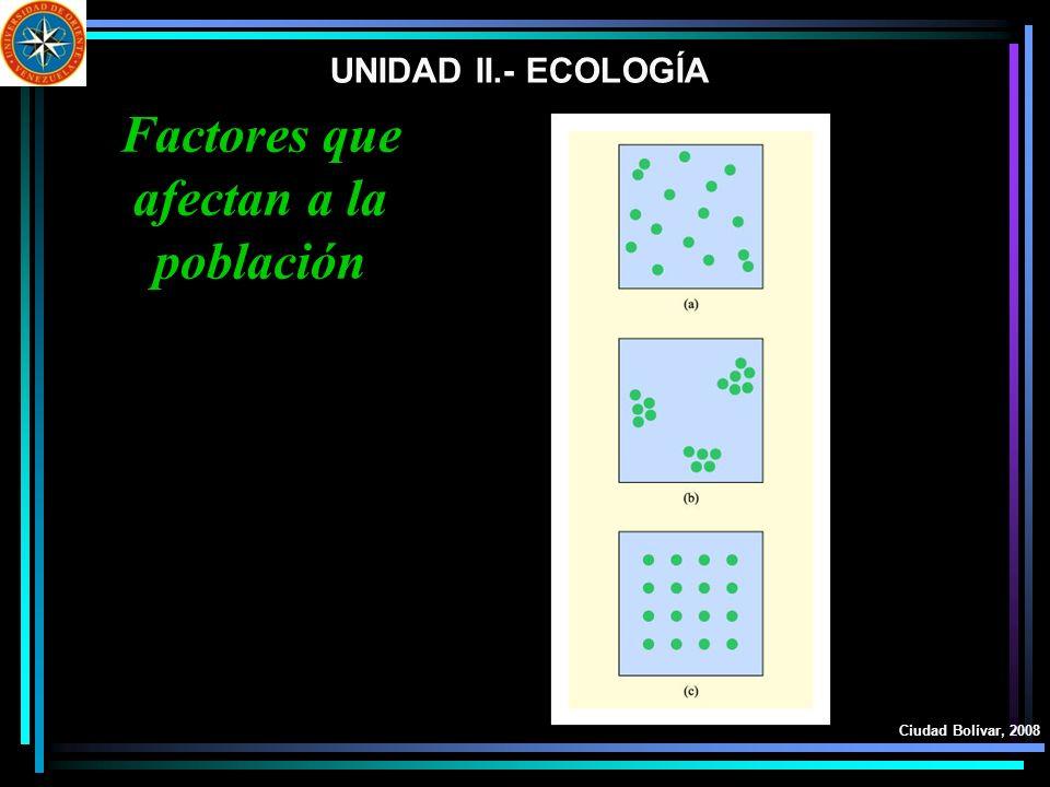 UNIDAD II.- ECOLOGÍA Ciudad Bolívar, 2008 Factores que afectan a la población