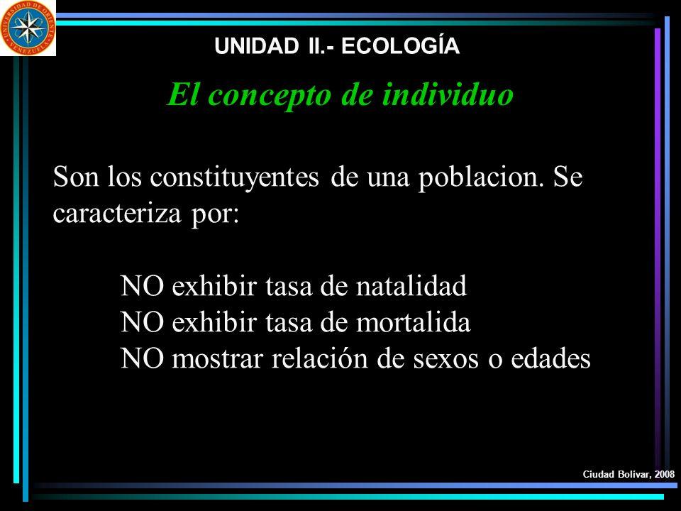 UNIDAD II.- ECOLOGÍA Ciudad Bolívar, 2008 El concepto de individuo Son los constituyentes de una poblacion. Se caracteriza por: NO exhibir tasa de nat