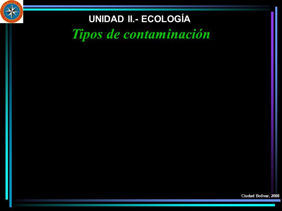 UNIDAD II.- ECOLOGÍA Ciudad Bolívar, 2008 Tipos de contaminación