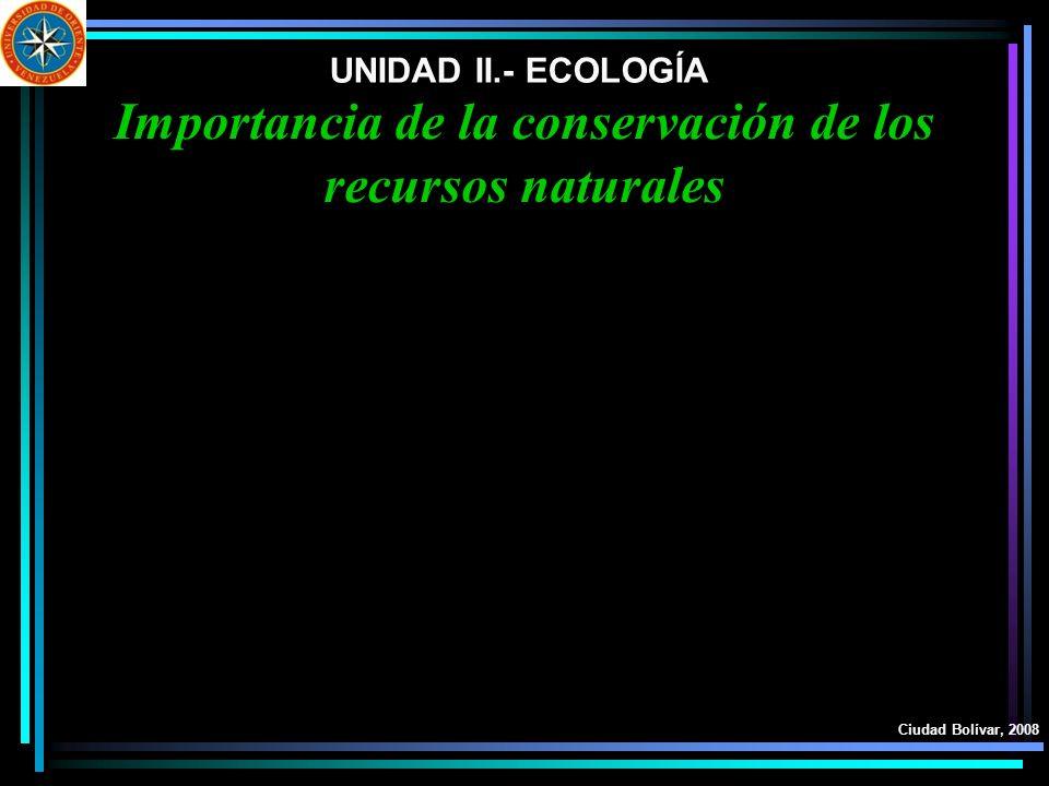 UNIDAD II.- ECOLOGÍA Ciudad Bolívar, 2008 Importancia de la conservación de los recursos naturales