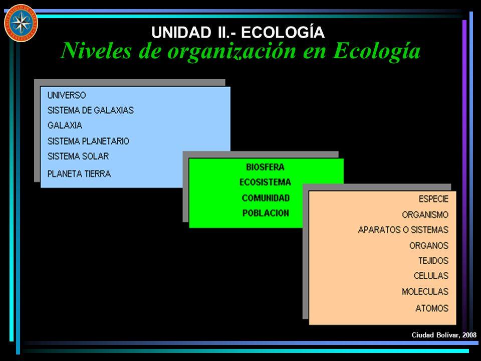 UNIDAD II.- ECOLOGÍA Ciudad Bolívar, 2008 Biomas Sobre la tierra firme, los biomas son conjuntos de organismos con patrones comunes de clima y con vegetación distintiva distribuida en una amplia área.