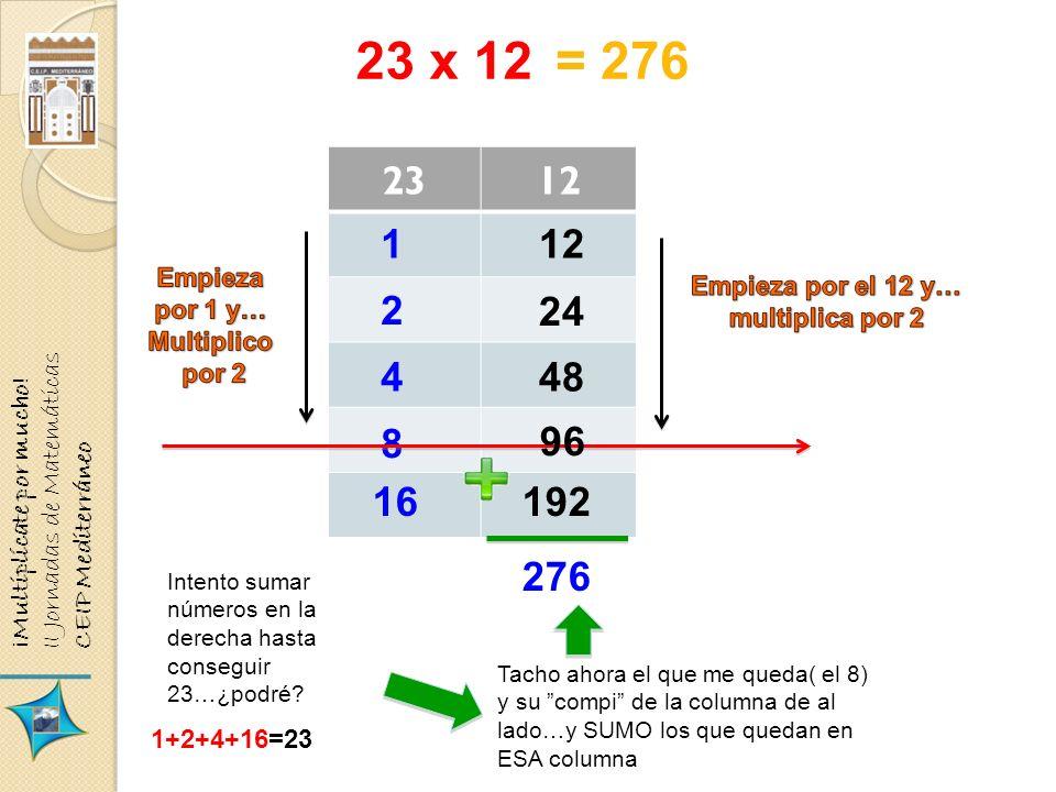 23 x 12 2312 1 2 4 8 24 48 192 276 = 276 16 96 Intento sumar números en la derecha hasta conseguir 23…¿podré? 1+2+4+16=23 Tacho ahora el que me queda(