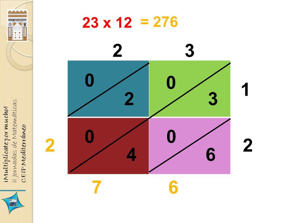 23 x 12 23 1 2 23 46 0 0 00 2 7 6 = 276 ¡Multiplícate por mucho! II Jornadas de Matemáticas CEIP Mediterráneo