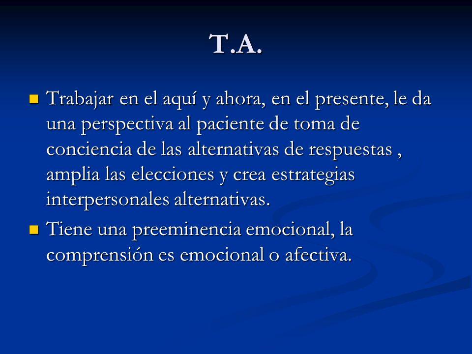 T.A. Trabajar en el aquí y ahora, en el presente, le da una perspectiva al paciente de toma de conciencia de las alternativas de respuestas, amplia la