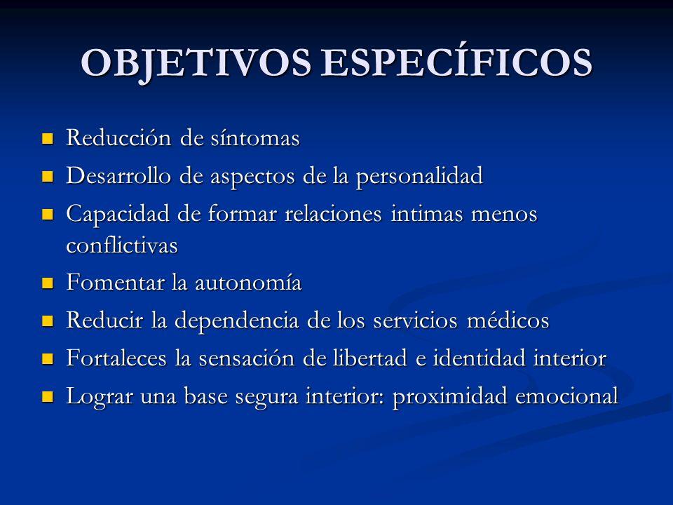 OBJETIVOS ESPECÍFICOS Reducción de síntomas Reducción de síntomas Desarrollo de aspectos de la personalidad Desarrollo de aspectos de la personalidad