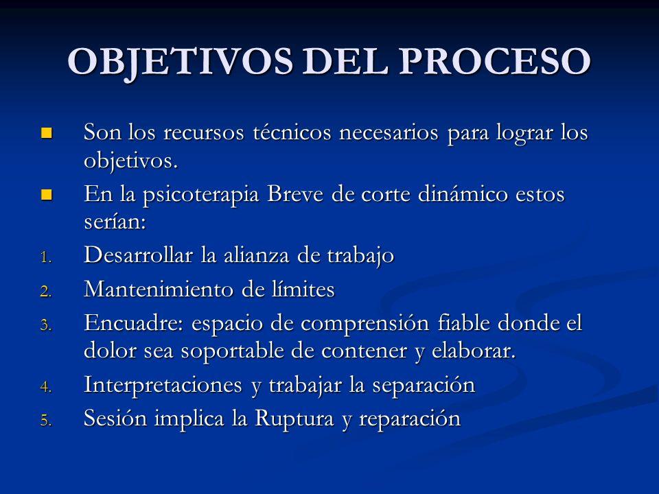 OBJETIVOS DEL PROCESO Son un micro-nivel pues se concentra en las sesiones e incluso en partes de la sesión Son un micro-nivel pues se concentra en las sesiones e incluso en partes de la sesión