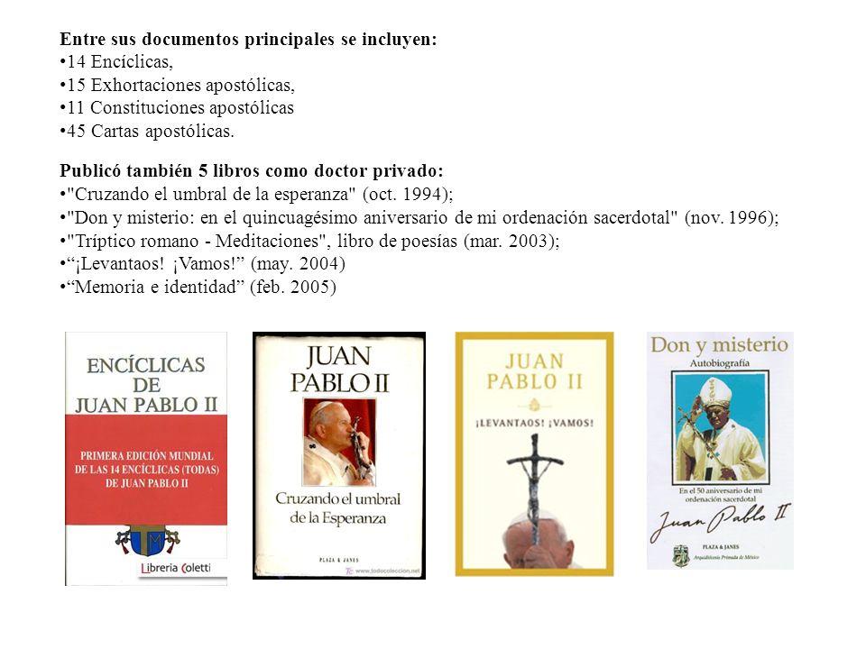 Entre sus documentos principales se incluyen: 14 Encíclicas, 15 Exhortaciones apostólicas, 11 Constituciones apostólicas 45 Cartas apostólicas. Public