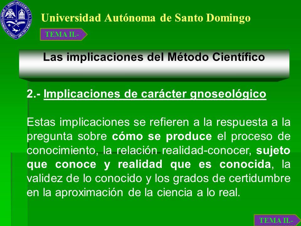 Universidad Autónoma de Santo Domingo Las implicaciones del Método Científico 2.- Implicaciones de carácter gnoseológico Estas implicaciones se refier