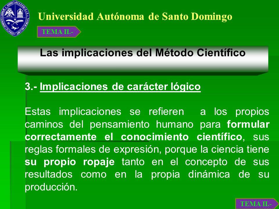 Universidad Autónoma de Santo Domingo Las implicaciones del Método Científico 3.- Implicaciones de carácter lógico Estas implicaciones se refieren a l