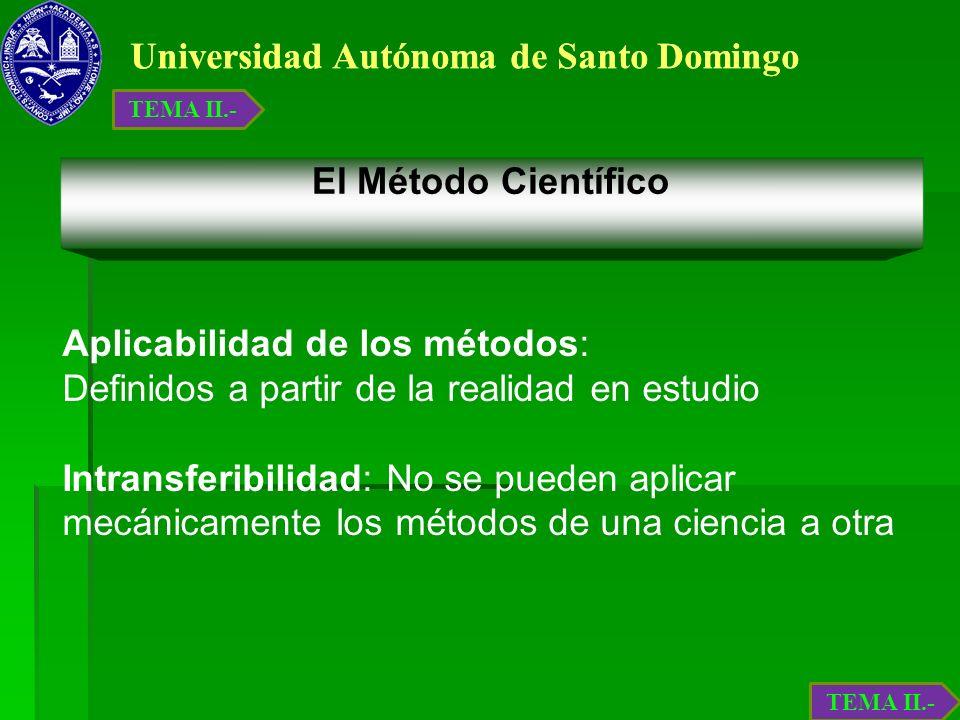 Universidad Autónoma de Santo Domingo El Método Científico Aplicabilidad de los métodos: Definidos a partir de la realidad en estudio Intransferibilid