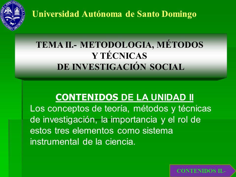 1.6.- Teoría, Método y Práctica Científica TEMA II.- METODOLOGIA, MÉTODOS Y TÉCNICAS DE INVESTIGACIÓN SOCIAL CONTENIDOS DE LA UNIDAD II Los conceptos