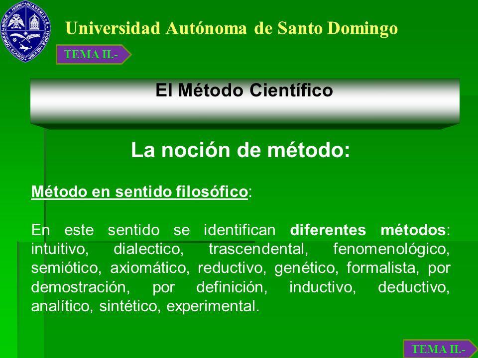 Universidad Autónoma de Santo Domingo El Método Científico La noción de método: Método en sentido filosófico: En este sentido se identifican diferente