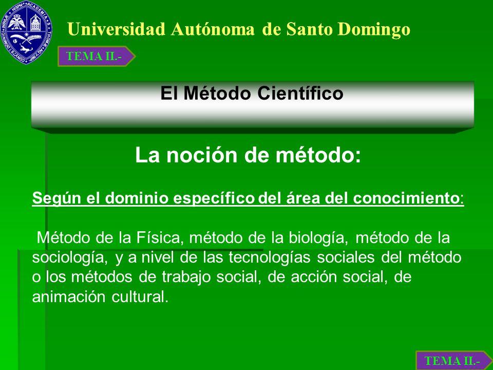 Universidad Autónoma de Santo Domingo El Método Científico La noción de método: Según el dominio específico del área del conocimiento: Método de la Fí