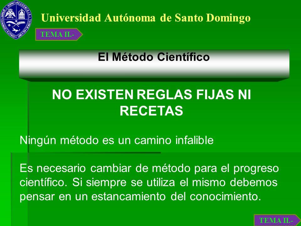 Universidad Autónoma de Santo Domingo El Método Científico NO EXISTEN REGLAS FIJAS NI RECETAS Ningún método es un camino infalible Es necesario cambia