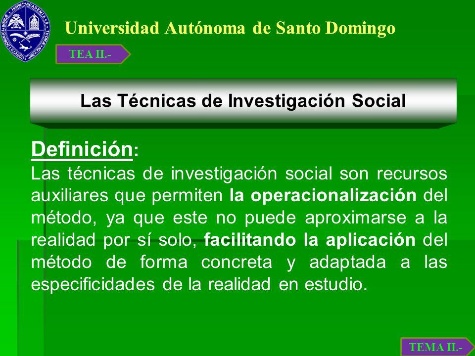 Universidad Autónoma de Santo Domingo Las Técnicas de Investigación Social Definición : Las técnicas de investigación social son recursos auxiliares q