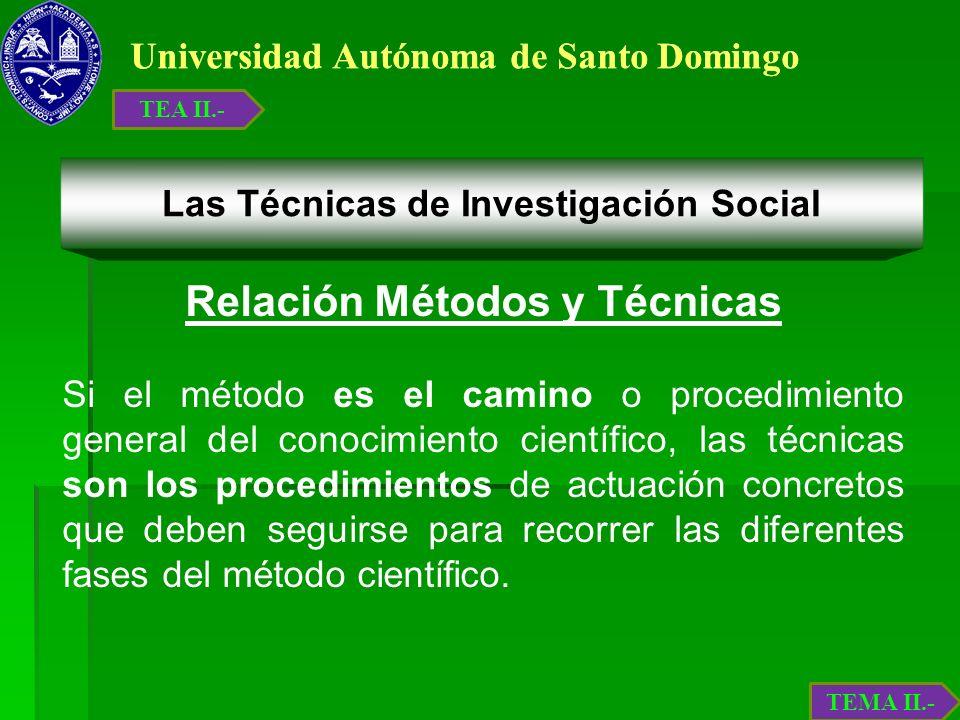 Universidad Autónoma de Santo Domingo Las Técnicas de Investigación Social Relación Métodos y Técnicas Si el método es el camino o procedimiento gener