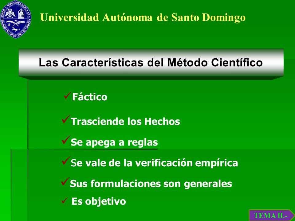 Universidad Autónoma de Santo Domingo Fáctico Trasciende los Hechos Se apega a reglas s e vale de la verificación empírica Sus formulaciones son gener