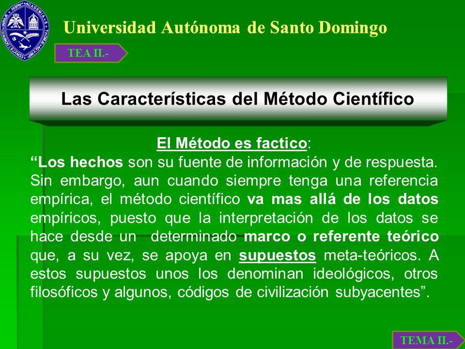 Universidad Autónoma de Santo Domingo El Método es factico: Los hechos son su fuente de información y de respuesta. Sin embargo, aun cuando siempre te