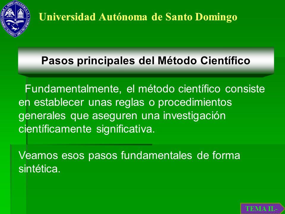 Universidad Autónoma de Santo Domingo Fundamentalmente, el método científico consiste en establecer unas reglas o procedimientos generales que asegure