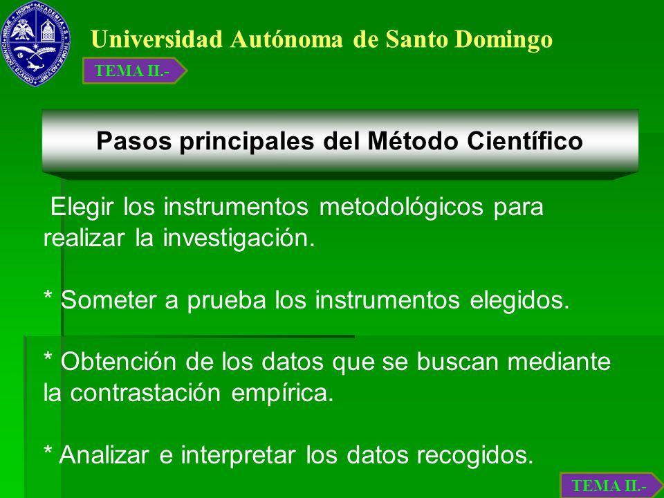 Universidad Autónoma de Santo Domingo Elegir los instrumentos metodológicos para realizar la investigación. * Someter a prueba los instrumentos elegid