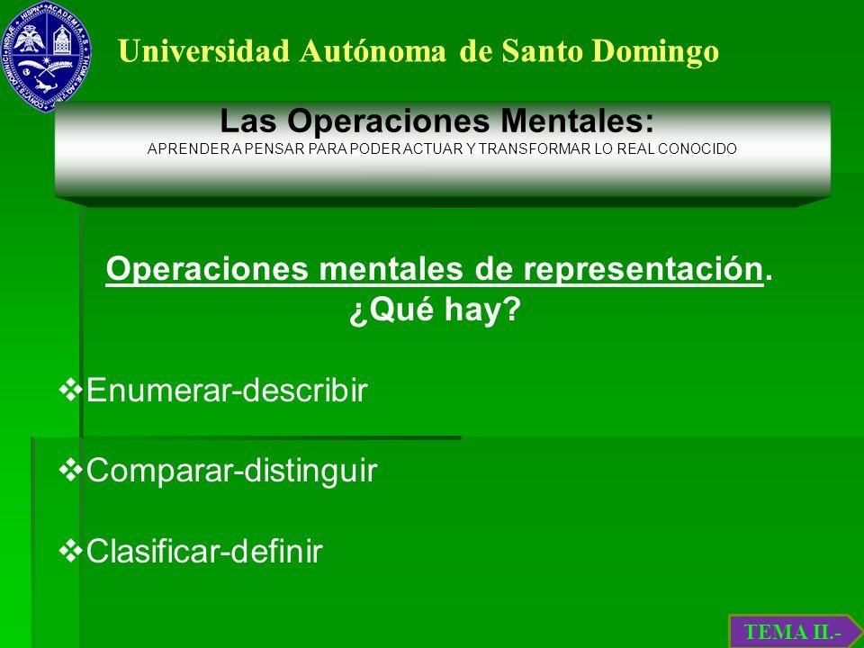 Universidad Autónoma de Santo Domingo Operaciones mentales de representación. ¿Qué hay? Enumerar-describir Comparar-distinguir Clasificar-definir TEMA