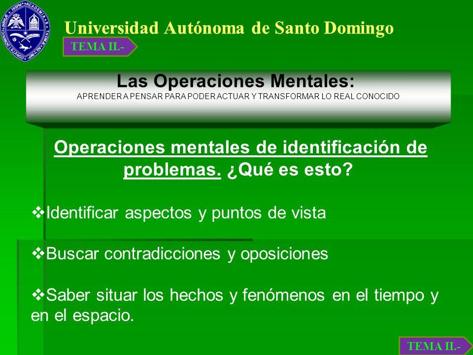 Universidad Autónoma de Santo Domingo Operaciones mentales de identificación de problemas. ¿Qué es esto? Identificar aspectos y puntos de vista Buscar