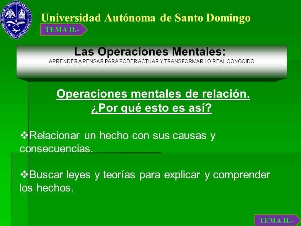 Universidad Autónoma de Santo Domingo Operaciones mentales de relación. ¿Por qué esto es así? Relacionar un hecho con sus causas y consecuencias. Busc