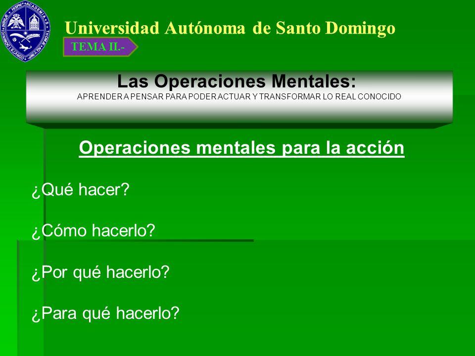 Universidad Autónoma de Santo Domingo Operaciones mentales para la acción ¿Qué hacer? ¿Cómo hacerlo? ¿Por qué hacerlo? ¿Para qué hacerlo? Las Operacio
